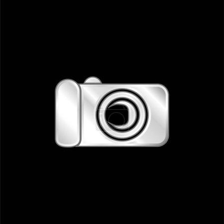 Illustration pour Icône métallique argentée de l'appareil photo numérique noir - image libre de droit