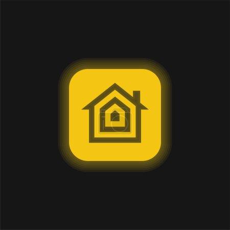 Illustration pour Icône au néon jaune pomme - image libre de droit