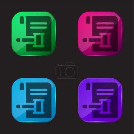 Photo pour Vente aux enchères icône bouton en verre de quatre couleurs - image libre de droit