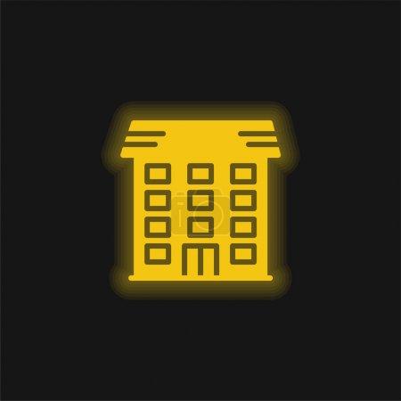 Illustration pour Appartement jaune brillant icône néon - image libre de droit