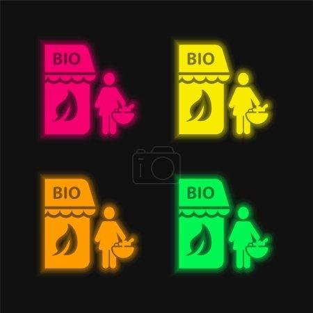 Illustration pour Bio Store icône vectorielle néon rayonnante de quatre couleurs - image libre de droit