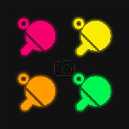 Illustration pour Plage quatre couleurs rougeoyantes icône vectorielle néon - image libre de droit