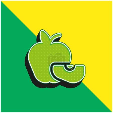 Illustration pour Logo vectoriel 3D moderne vert pomme et jaune - image libre de droit