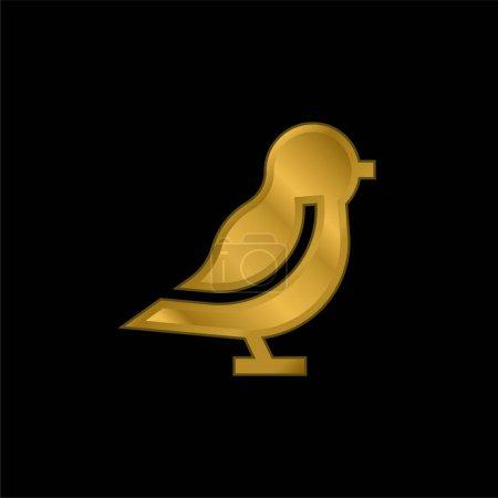 Bird gold plated metalic icon or logo vector