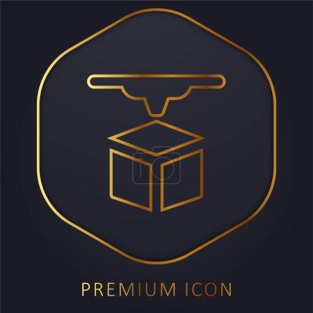 Illustration for 3d Printer golden line premium logo or icon - Royalty Free Image