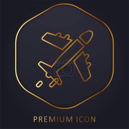 Photo pour Avion ligne d'or logo premium ou icône - image libre de droit