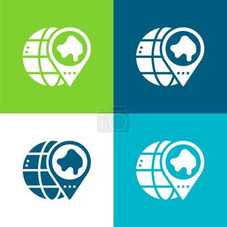 Illustration pour Asie Ensemble d'icônes minimal plat quatre couleurs - image libre de droit
