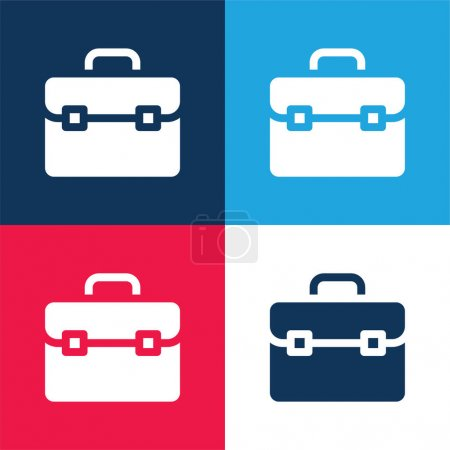 Photo for Briefcase blue and red four color minimal icon set - Royalty Free Image