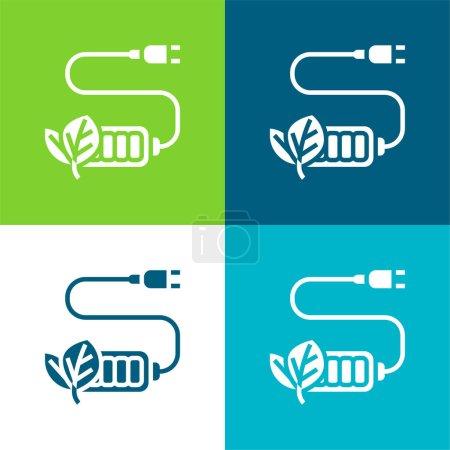 Illustration pour Charge de la batterie Ensemble d'icônes minimal plat quatre couleurs - image libre de droit