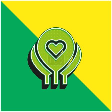 Illustration pour Ballons Vert et jaune icône vectorielle 3D moderne logo - image libre de droit