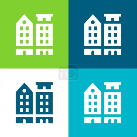 Illustration for Amsterdam Flat four color minimal icon set - Royalty Free Image