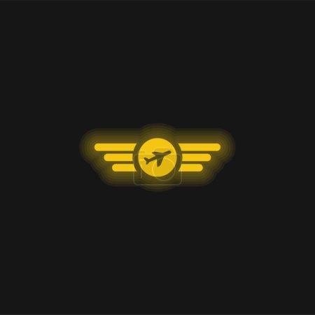 Illustration pour Air Company Logo jaune brillant icône néon - image libre de droit