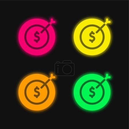 Illustration pour Visez quatre couleurs rougeoyantes icône vectorielle néon - image libre de droit