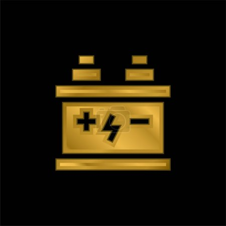 Battery gold plated metalic icon or logo vector