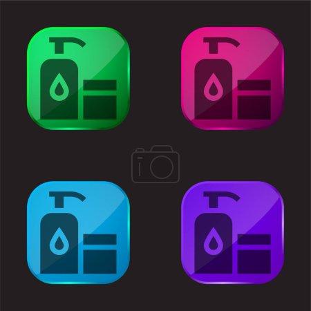Illustration pour Bébé huile quatre couleur icône de bouton en verre - image libre de droit