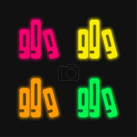 Illustration for Archive four color glowing neon vector icon - Royalty Free Image