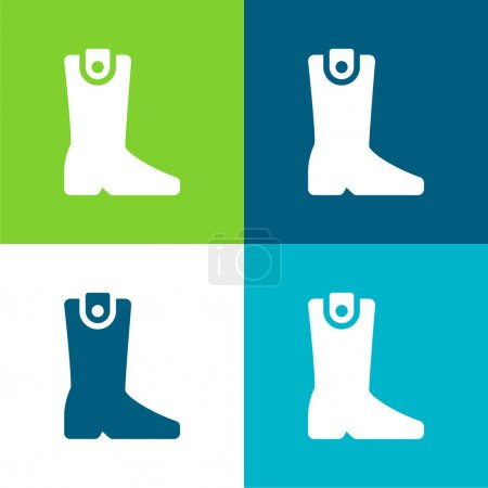 Boot Flat cztery kolory minimalny zestaw ikon