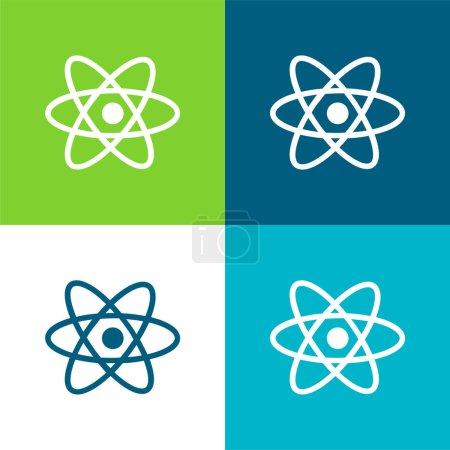 Atom Symbol Flat four color minimal icon set