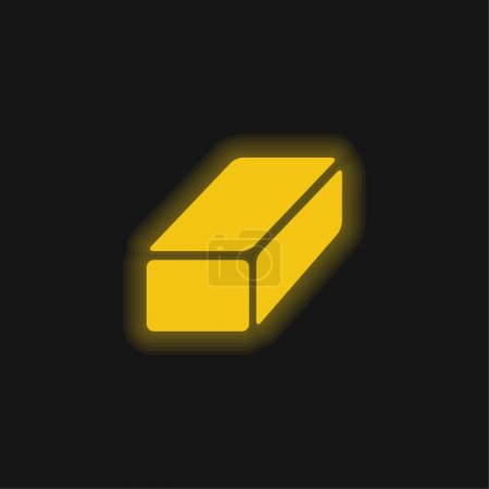 Illustration for Black Brick yellow glowing neon icon - Royalty Free Image