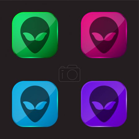Illustration for Alien Head four color glass button icon - Royalty Free Image