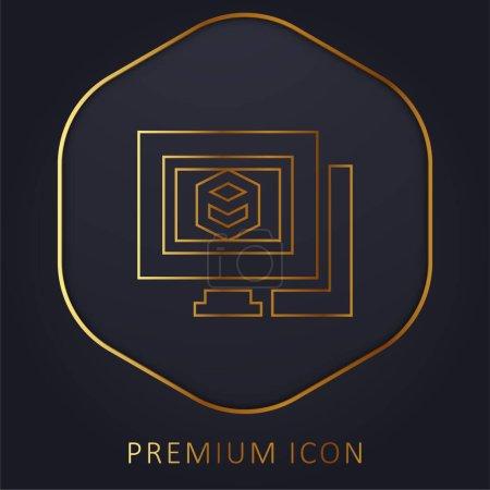 Illustration pour 3d Modélisation ligne dorée logo premium ou icône - image libre de droit
