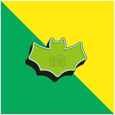 Illustration pour Chauve-souris vert et jaune moderne icône vectorielle 3d logo - image libre de droit
