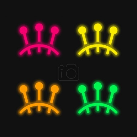 Acupuncture four color glowing neon vector icon