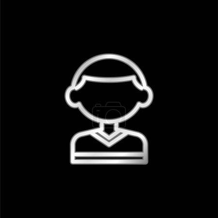 Illustration pour Garçon argent plaqué icône métallique - image libre de droit