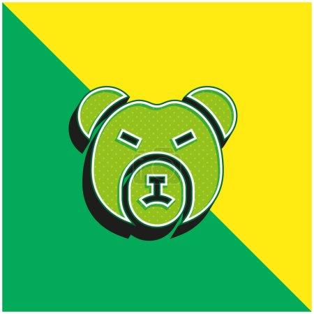 Bear Market Green and yellow modern 3d vector icon logo
