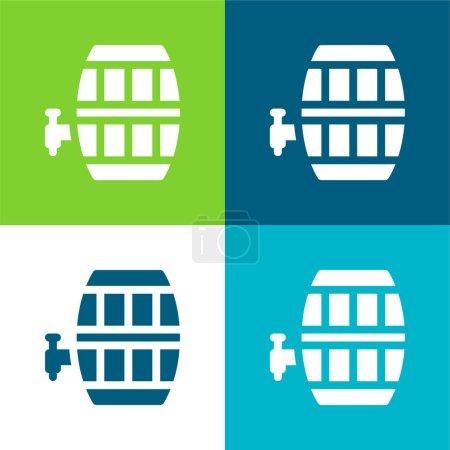 Illustration pour Barrel Flat quatre couleurs minimum jeu d'icônes - image libre de droit
