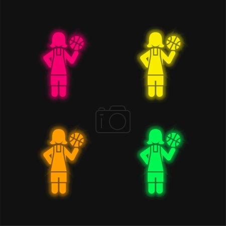 Illustration pour Basketball Player quatre couleurs brillant icône vectorielle néon - image libre de droit