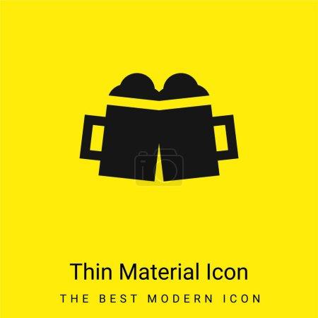 Illustration pour Tasse à bière icône matérielle jaune vif minimale - image libre de droit
