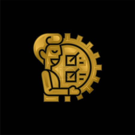 Illustration for Ability gold plated metalic icon or logo vector - Royalty Free Image