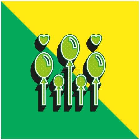 Balloon Green and yellow modern 3d vector icon logo