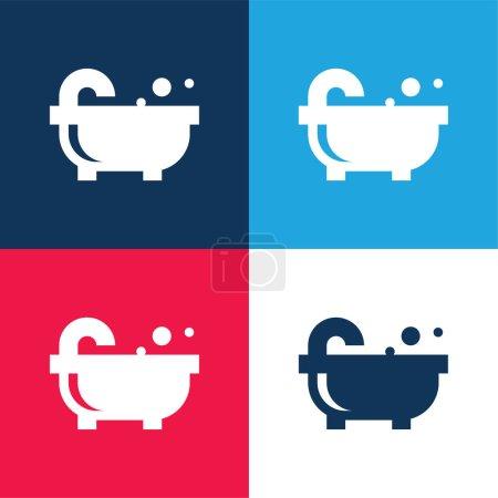 Bañera azul y rojo de cuatro colores mínimo icono conjunto