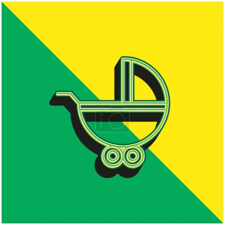 Baby Carriage With Wheels Green and yellow modern 3d vector icon logo