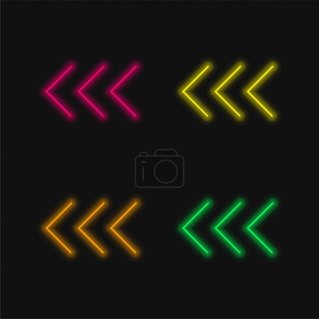 Arrowheads Pointing To The Left four color glowing neon vector icon
