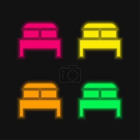 Bett vier Farbe leuchtenden Neon-Vektor-Symbol