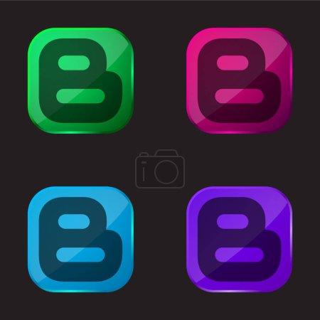 Illustration pour Blogger Logotype icône de bouton en verre de quatre couleurs - image libre de droit