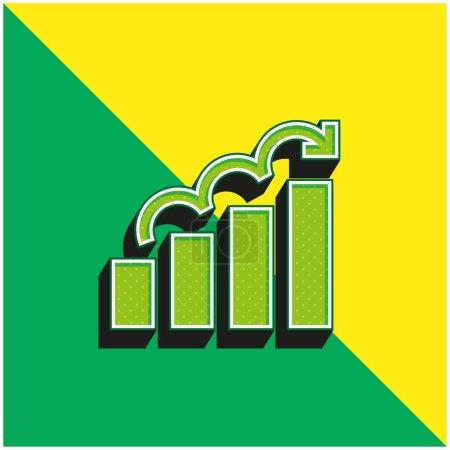 Illustration pour Diagramme à barres Logo vectoriel 3d moderne vert et jaune - image libre de droit