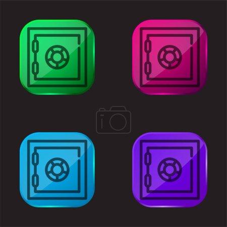 Bank Safe Box four color glass button icon