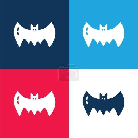 Photo pour Ensemble d'icônes minime quatre couleurs bleu chauve-souris et rouge - image libre de droit