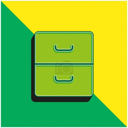 Illustration pour Archive Logo vectoriel 3D moderne vert et jaune - image libre de droit