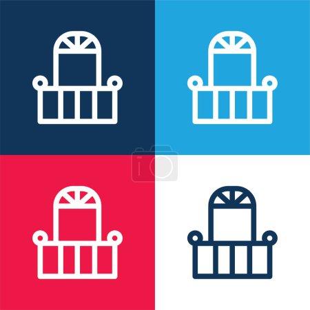 Photo pour Balcon Et Porte bleu et rouge quatre couleurs minimum jeu d'icônes - image libre de droit