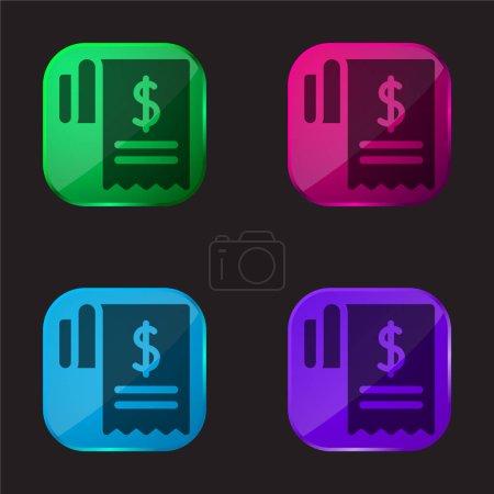 Photo pour Bill icône de bouton en verre de quatre couleurs - image libre de droit
