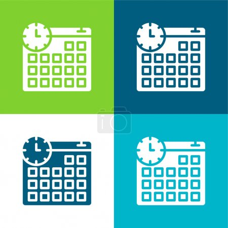 Appointment Flat four color minimal icon set