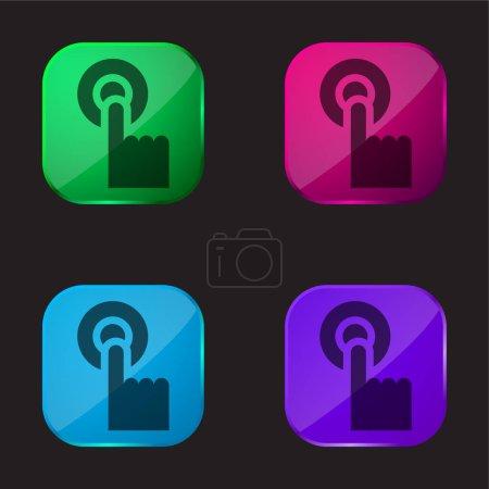Alarm four color glass button icon