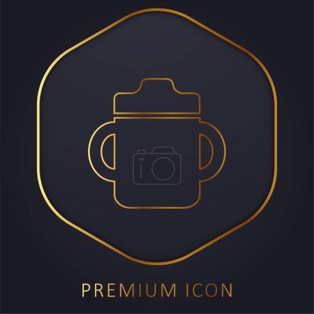 Photo pour Bouteille de boisson pour bébé avec poignée des deux côtés logo ou icône premium de la ligne d'or - image libre de droit