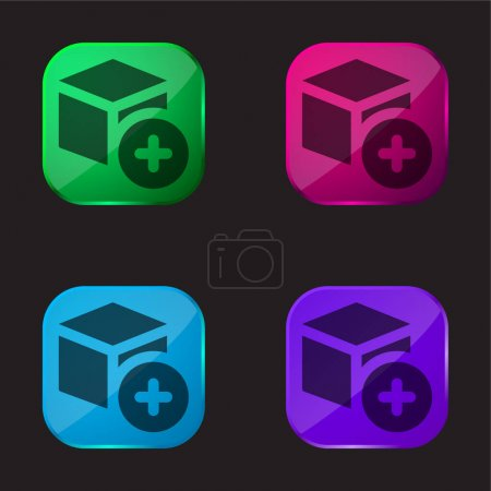 Illustration for Add four color glass button icon - Royalty Free Image