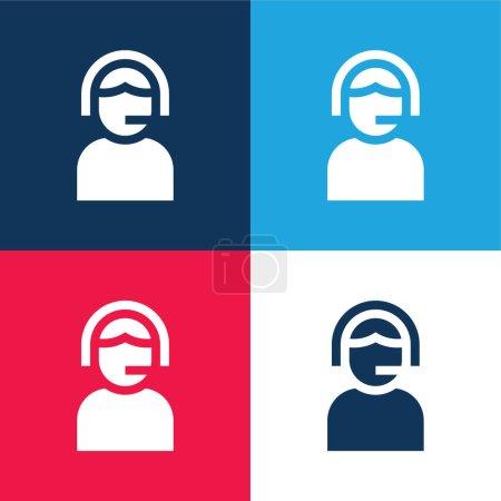 Illustration pour Assistance bleu et rouge ensemble d'icônes minimes quatre couleurs - image libre de droit